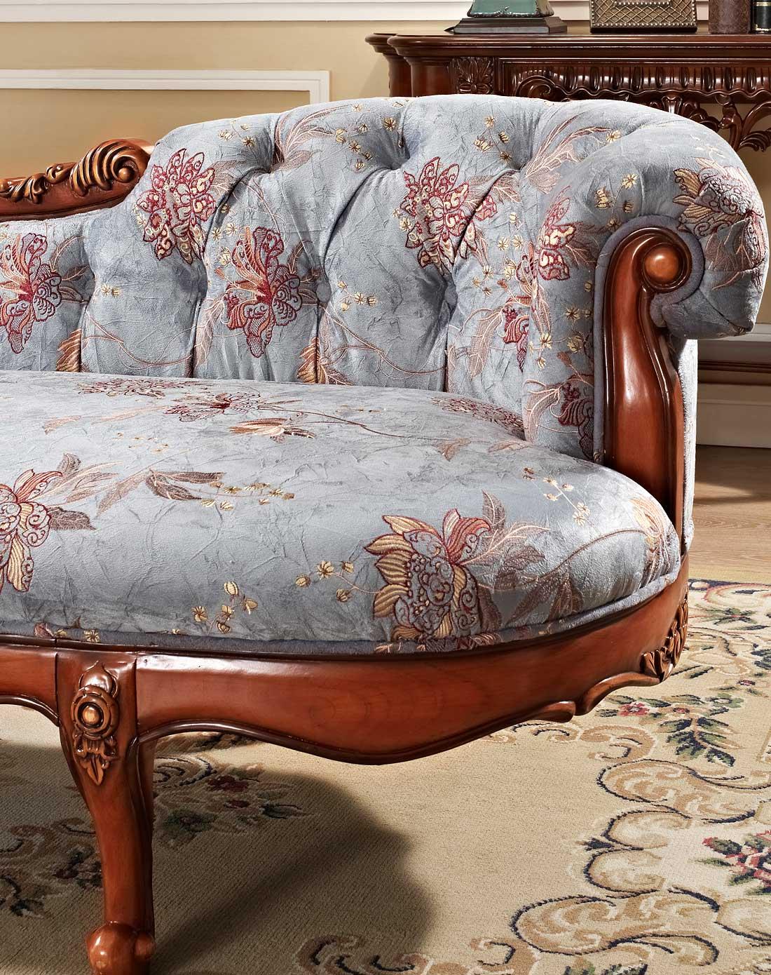 美式实木布艺贵妃榻沙发躺椅图片