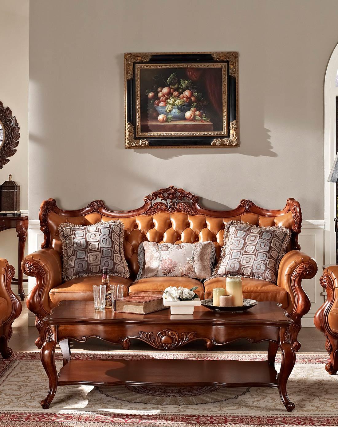 美式实木雕花真皮沙发 三人位