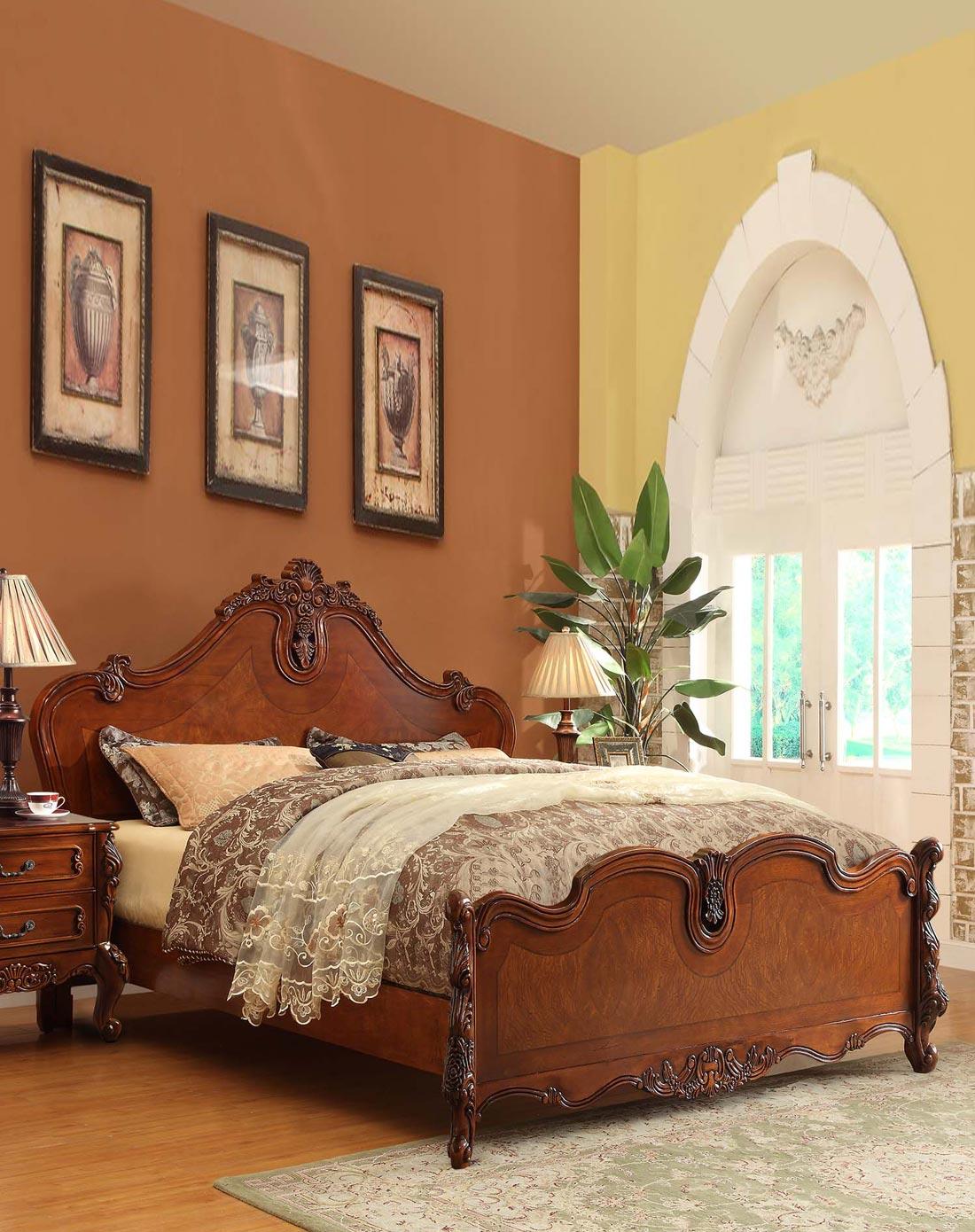 美式实木床欧式雕花床