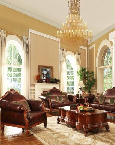 具专场美式实木真皮沙发