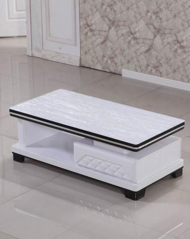 超白玻璃黑白相间冰花电视柜茶几组合