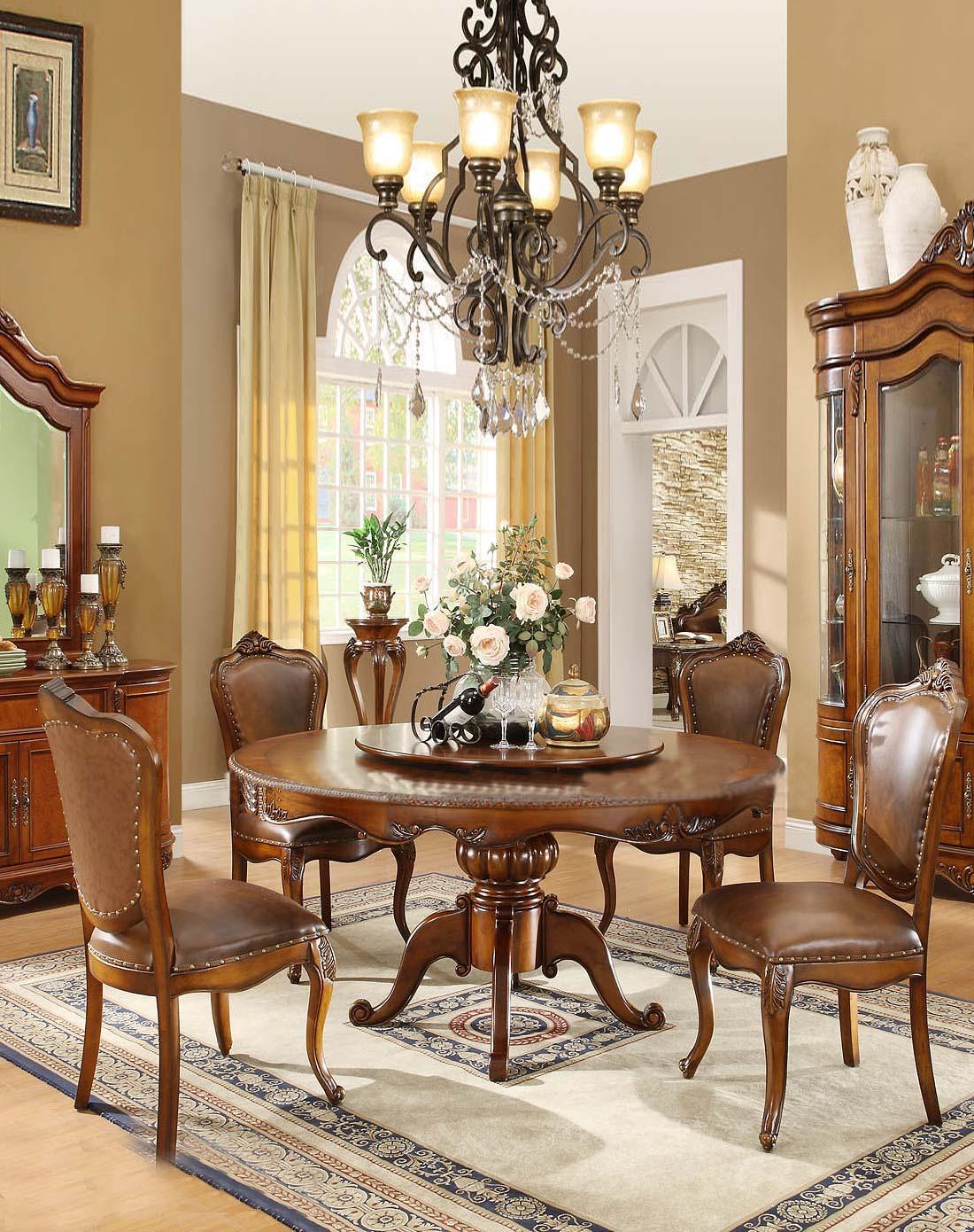 美式实木家具圆餐桌