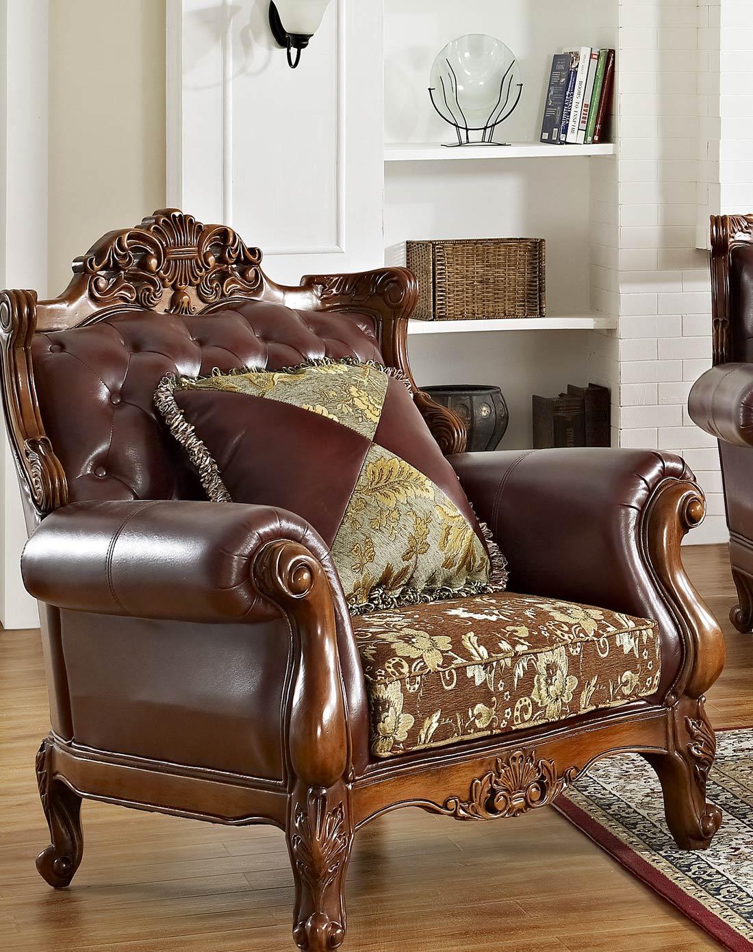 美式实木雕花皮艺沙发 组合