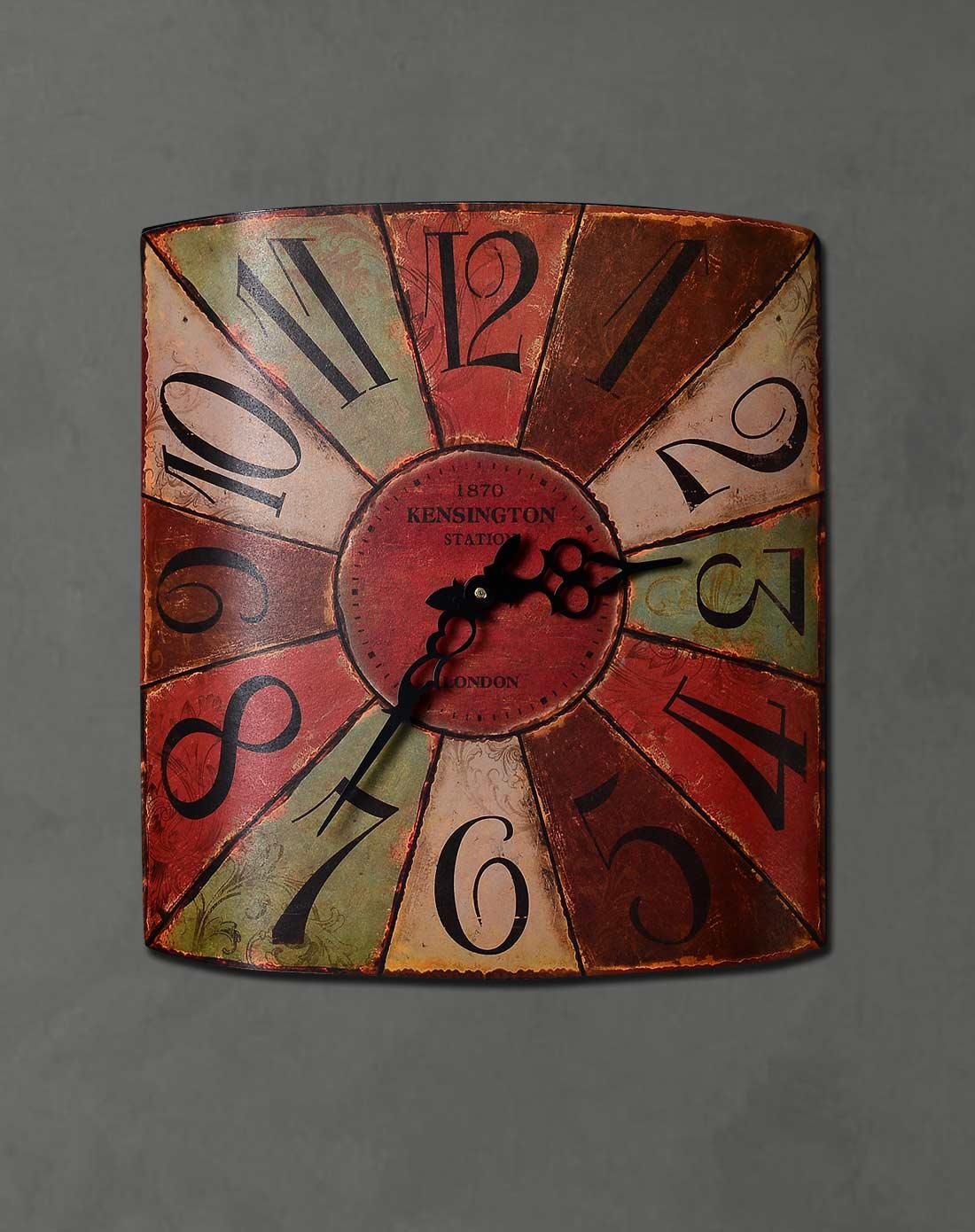 美式墙面装饰挂钟 阿拉伯数字款方形铁皮挂钟图片