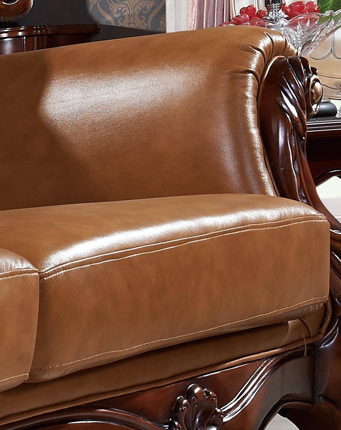 欧式实木雕花头层厚牛皮组合沙发