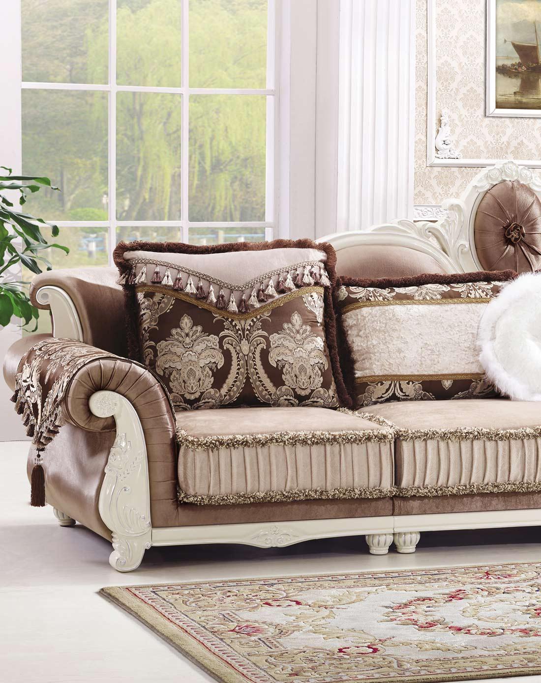 凯哲家具专场欧式转角实木雕花沙发组合+b款茶几k