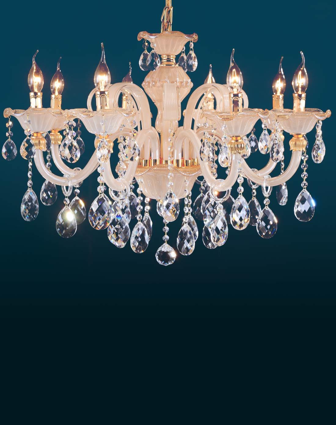 欧式水晶10头吊灯 简约水晶蜡烛灯饰
