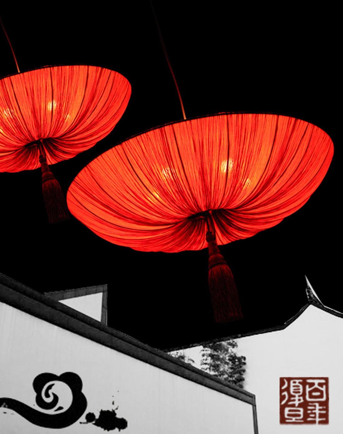 比月中式客厅创意红灯笼吊灯2040大号图片
