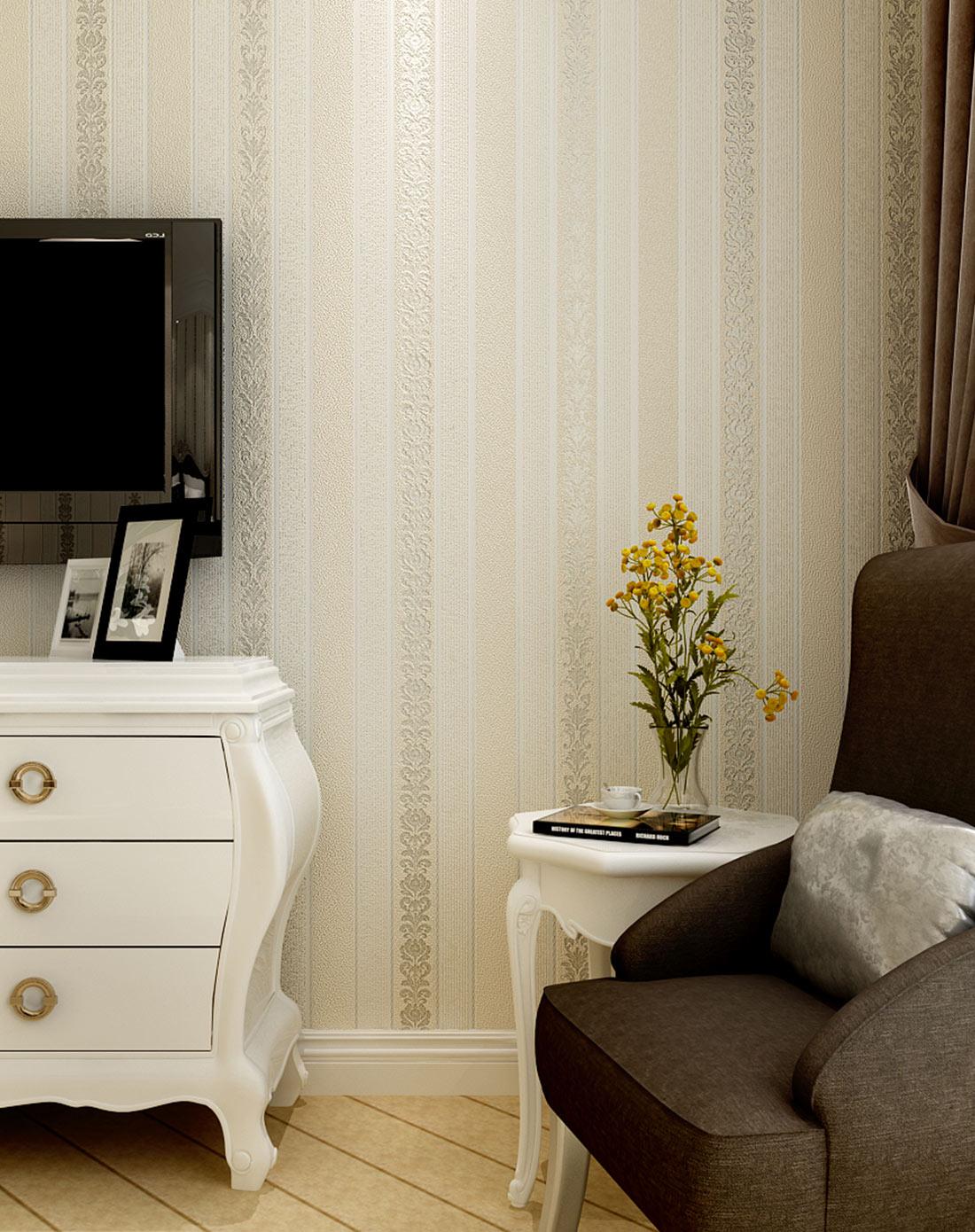 米黄3d欧式竖条纹无纺布墙纸