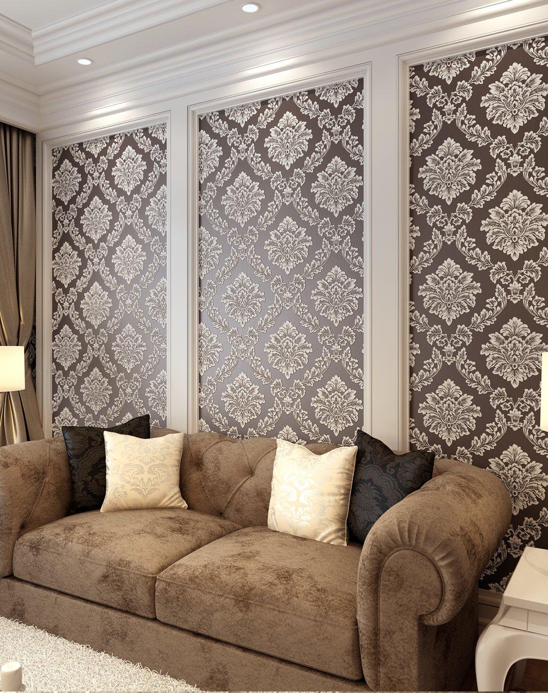 纸尚美学墙纸专场咖啡色欧式奢华圆网鎏金无纺布墙纸