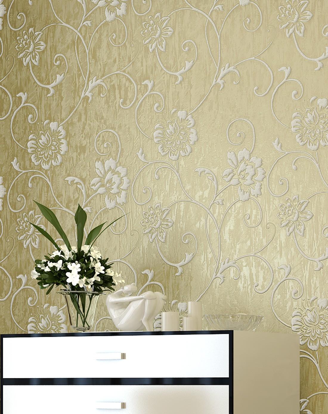 纸尚美学墙纸专场米黄色立体浮雕3d欧式简约风格壁纸图片