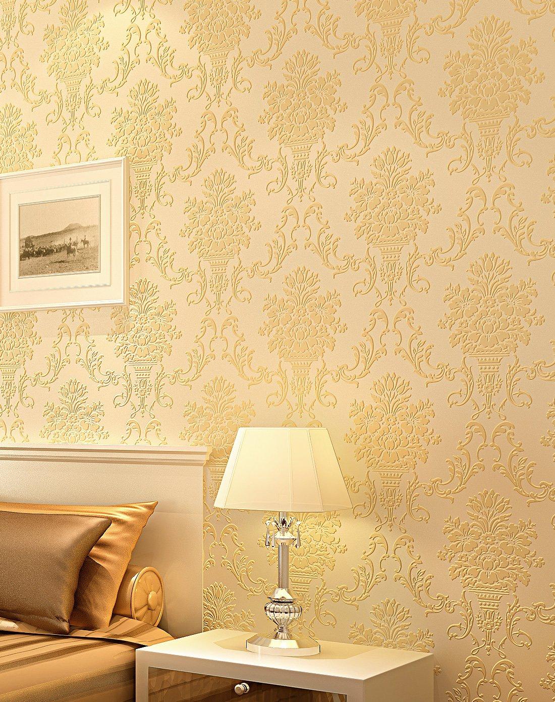纸尚美学墙纸专场米黄色欧式3d立体天鹅绒无纺布壁纸图片