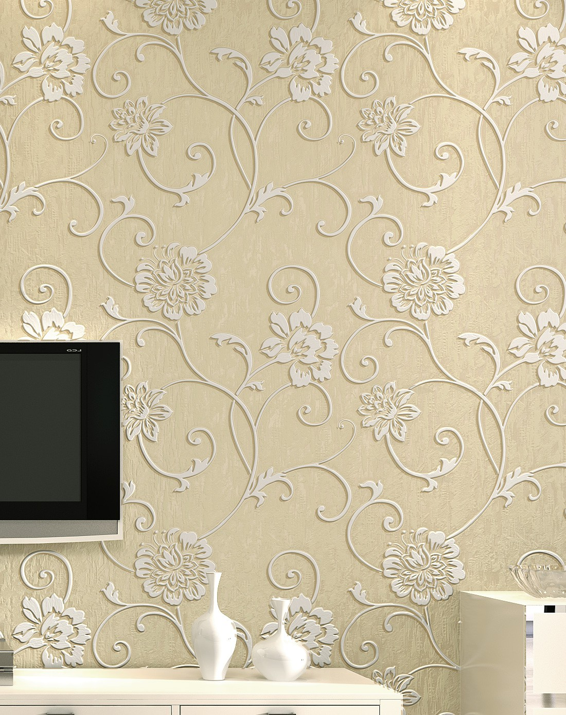 纸尚美学墙纸专场象牙色立体浮雕3d欧式简约风格壁纸图片