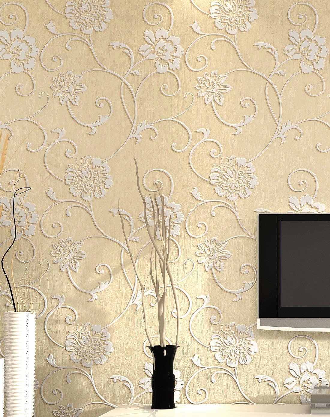 纸尚美学墙纸专场象牙色立体浮雕3d欧式简约风格壁纸