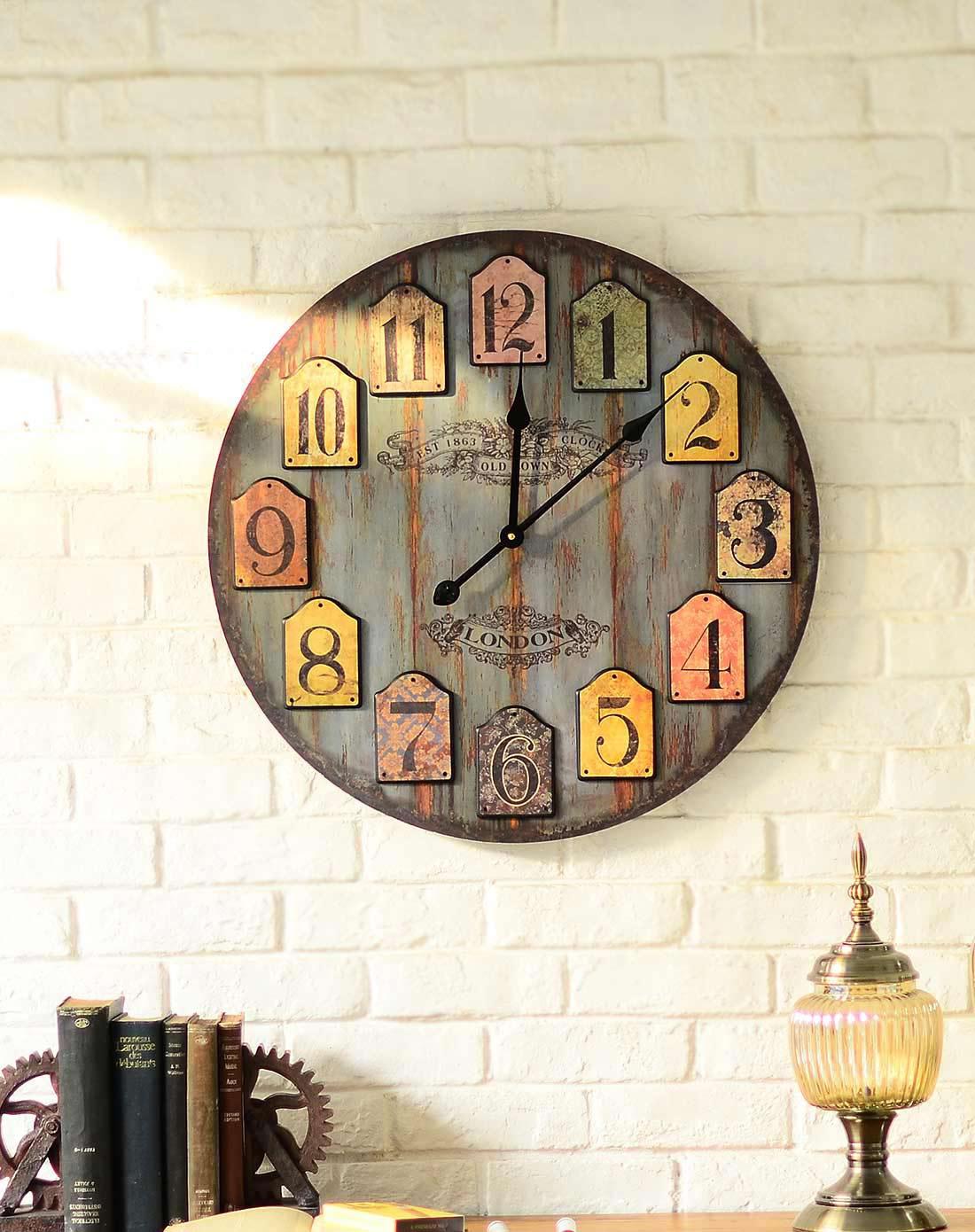 美式墙面装饰挂钟 彩色数字圆盘大盘面客厅挂钟 蓝色图片
