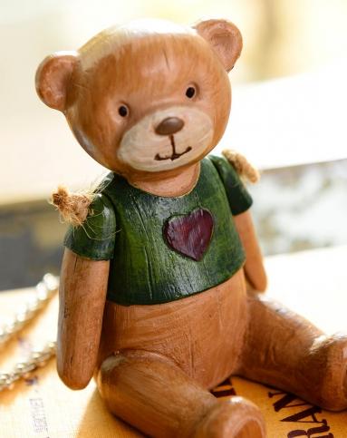 家饰摆件 麦德彩色手绘摆臂木偶熊2件套a款小号