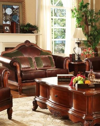 美式实木皮艺沙发 组合图片