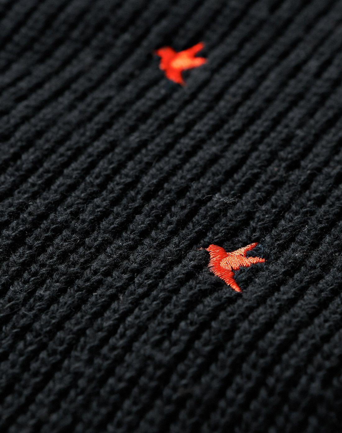 黑色小鸟绣时尚毛衣