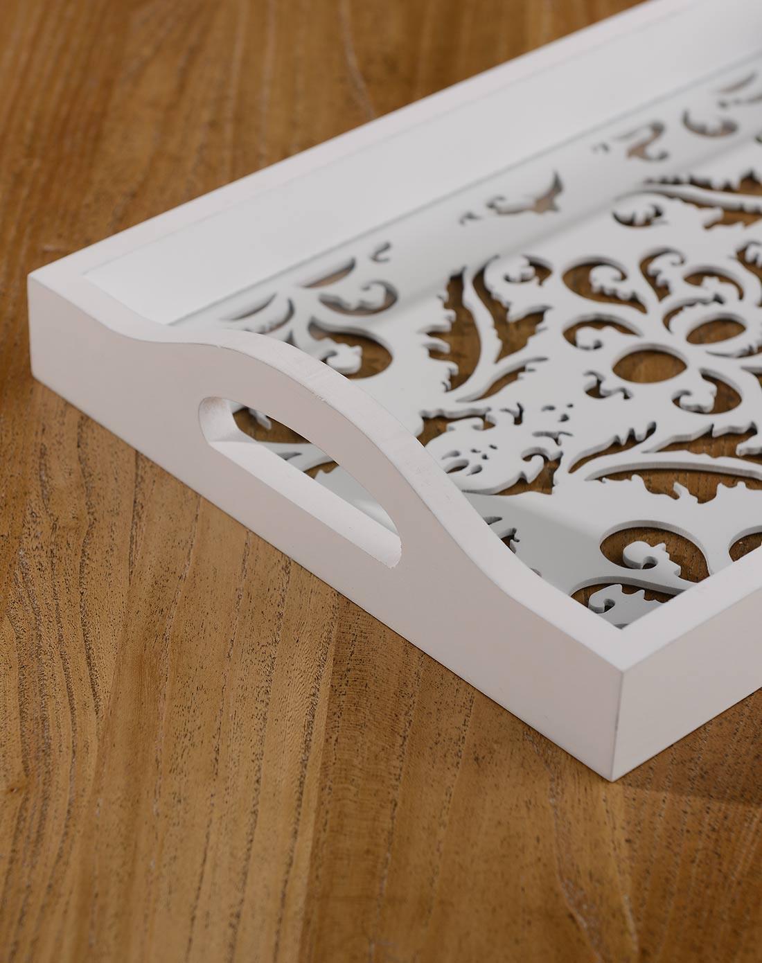 复古镂空雕花长方形托盘 c款 白色