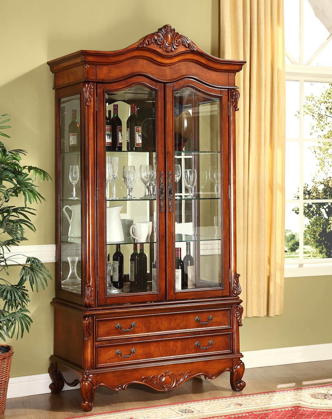 美式实木雕花双门酒柜
