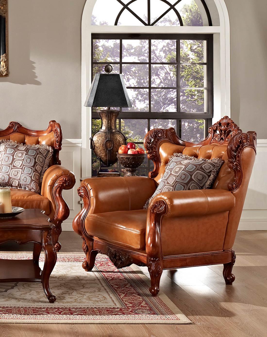 美式实木雕花真皮沙发 组合
