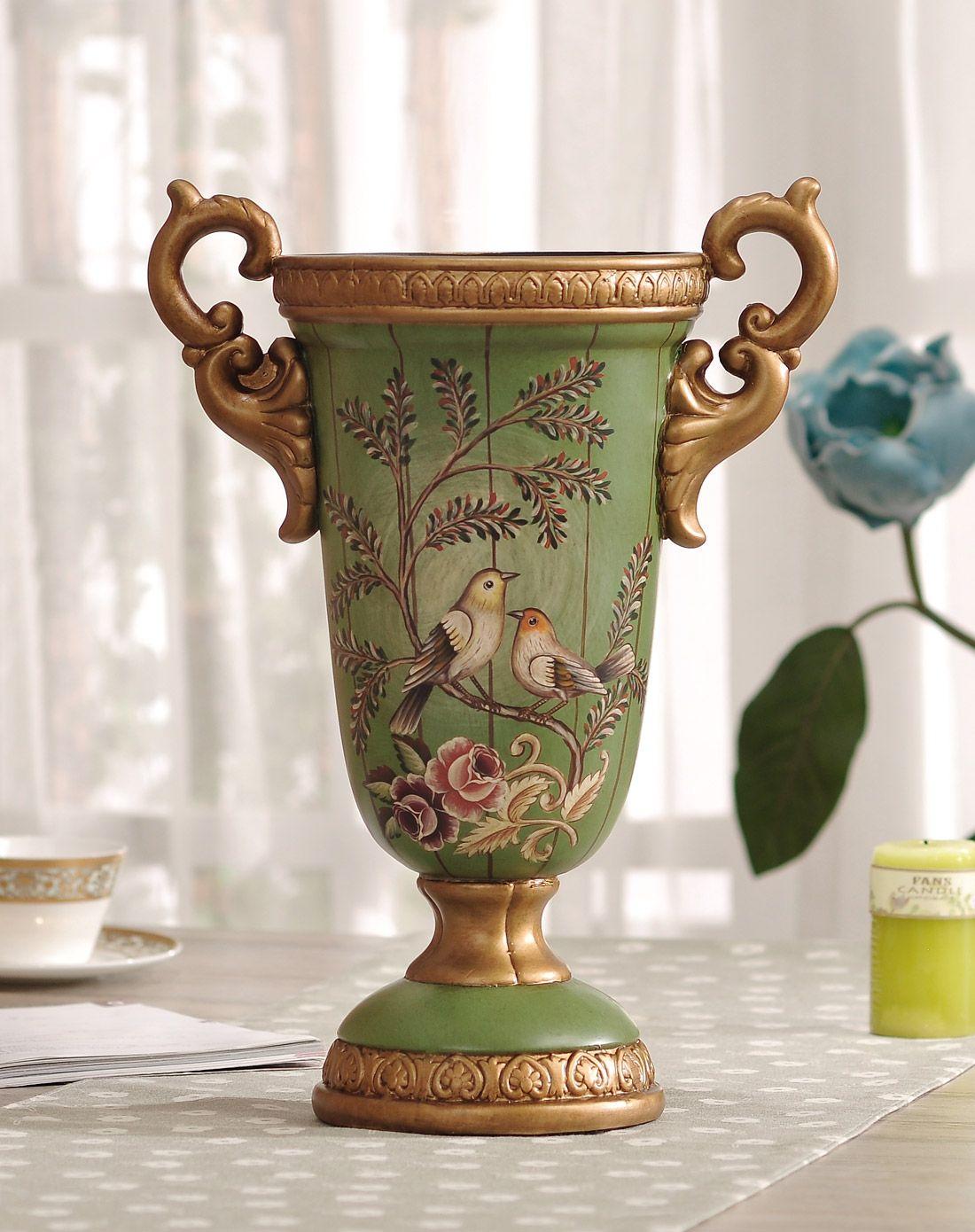 手绘爱情鸟花瓶配花