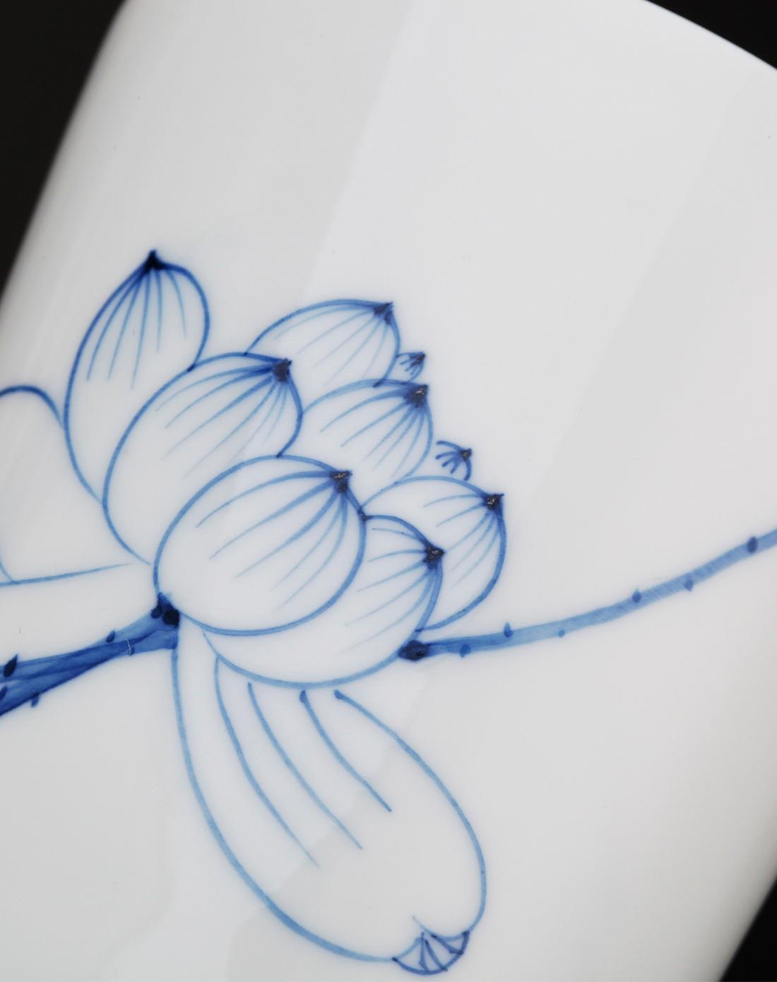 束氏茶具专场荷塘月色-蓝彩手绘双人大直口杯套装
