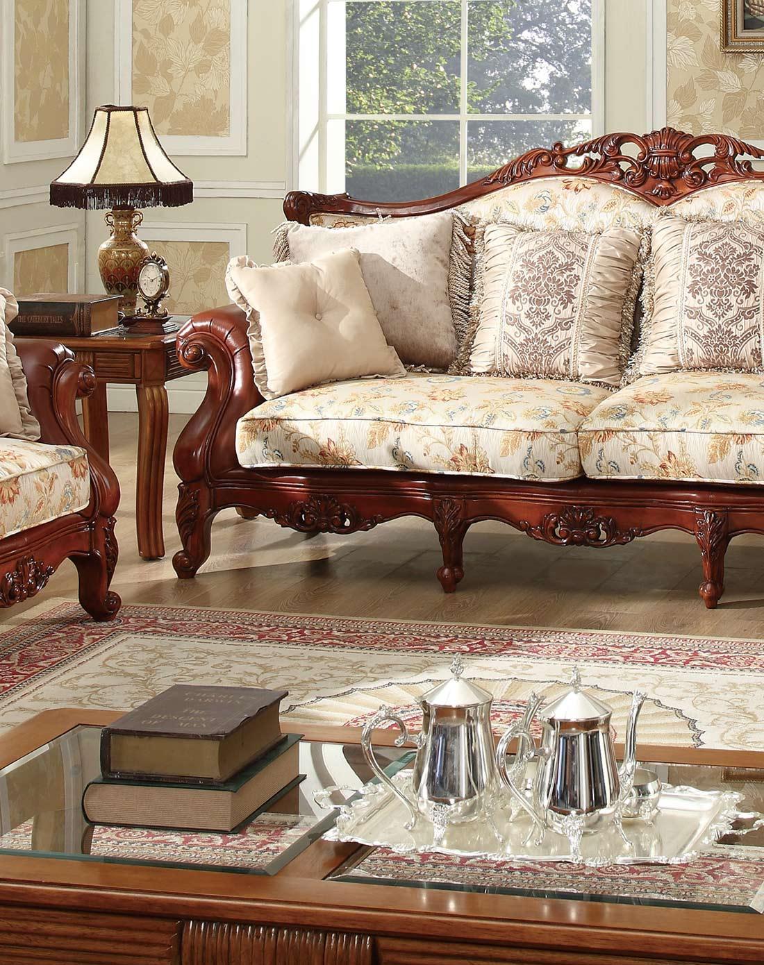 美式实木雕花布艺沙发