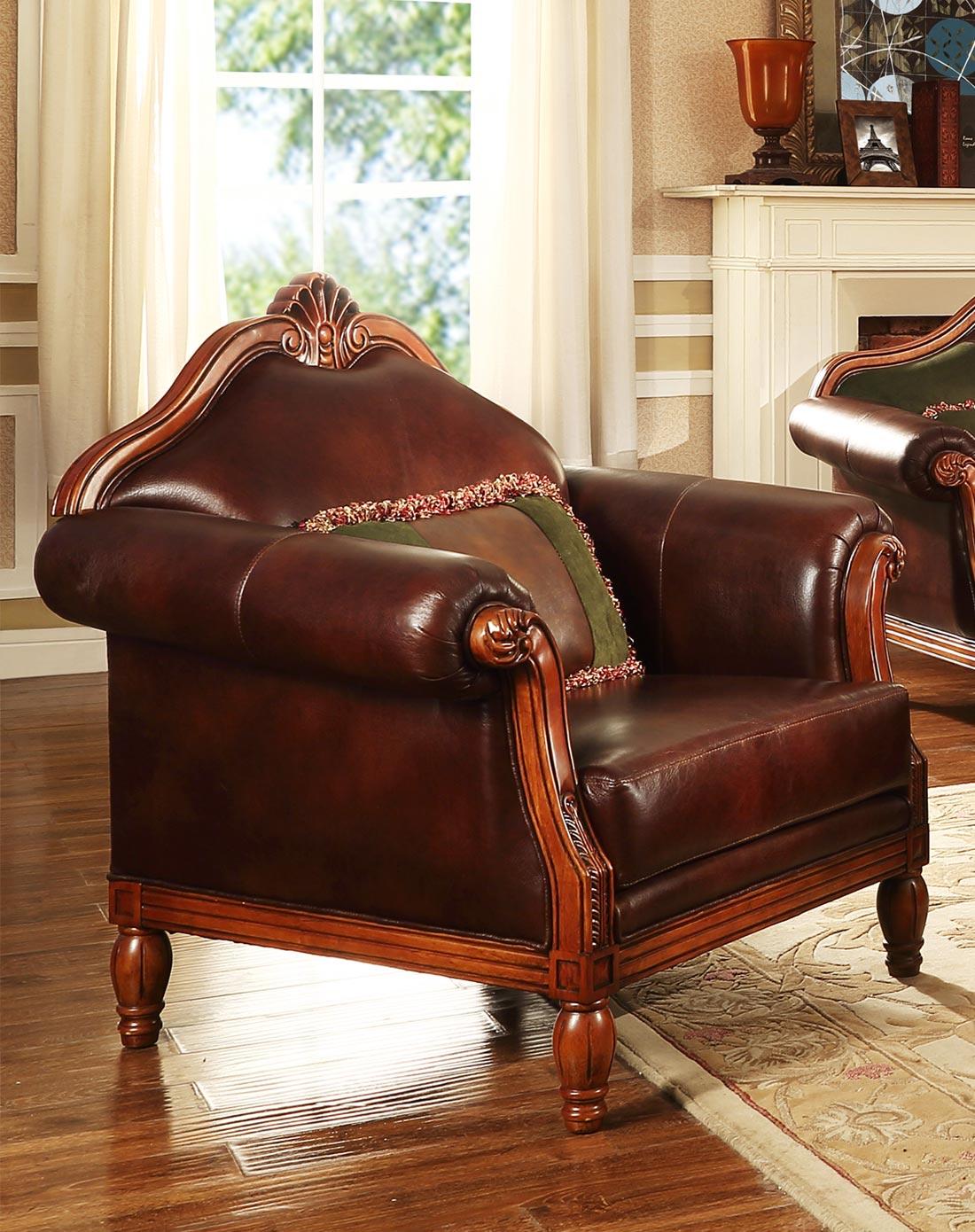 美式实木皮艺沙发 单人位图片