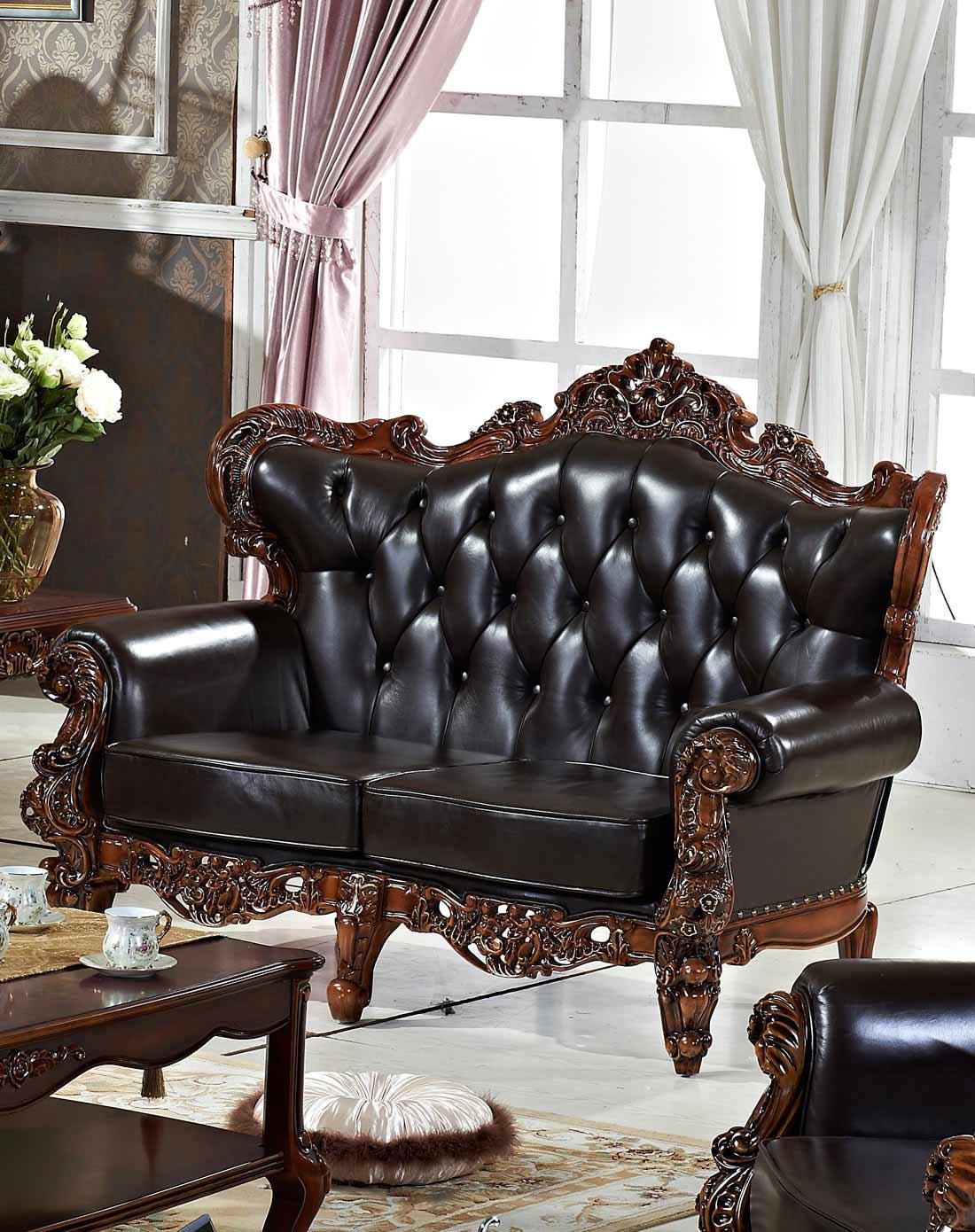 欧式真皮实木手工雕刻沙发双人位