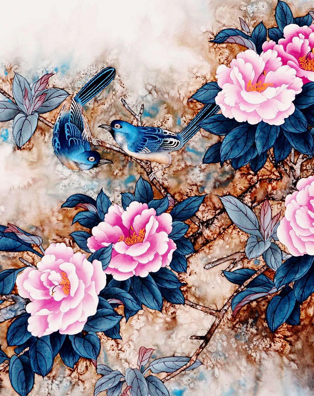 新中式风单幅装饰画(百花齐放)图片