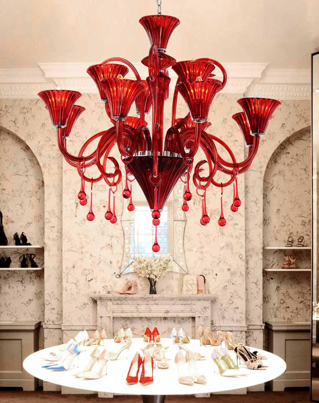 华欧式玻璃吊灯酒红色客厅