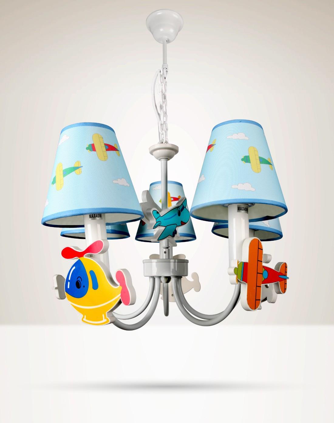 飞机系列吊灯创意卡通立体造型五座送光源
