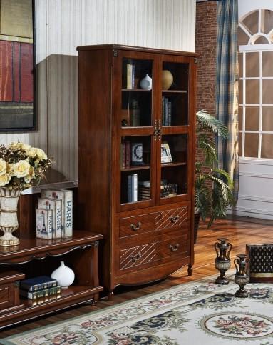 深色美式乡村酒柜 客厅玻璃门储物柜实木展示柜