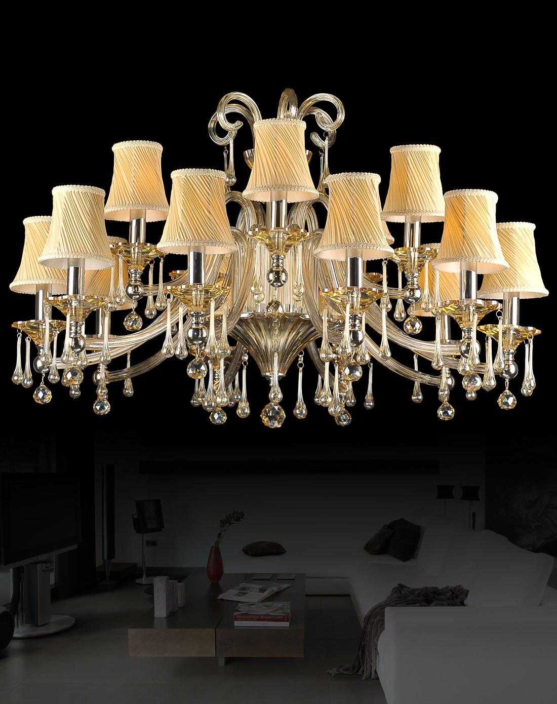 15头欧式水晶吊灯 金色带灯罩