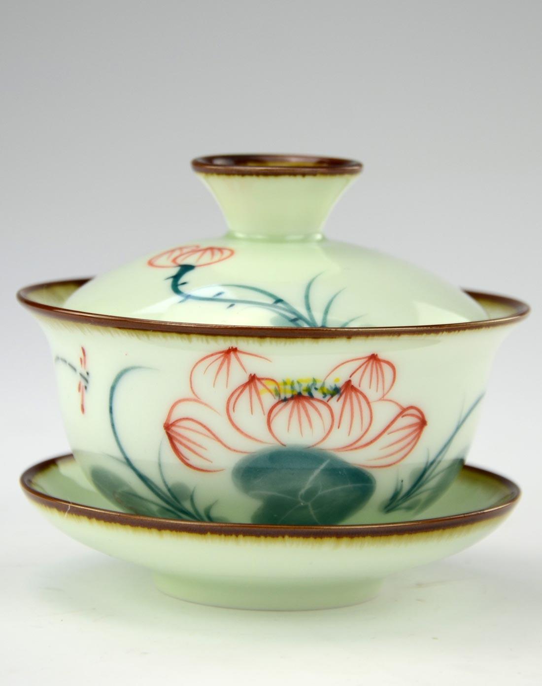 手绘荷花蜻蜓点水9头陶瓷茶具套装