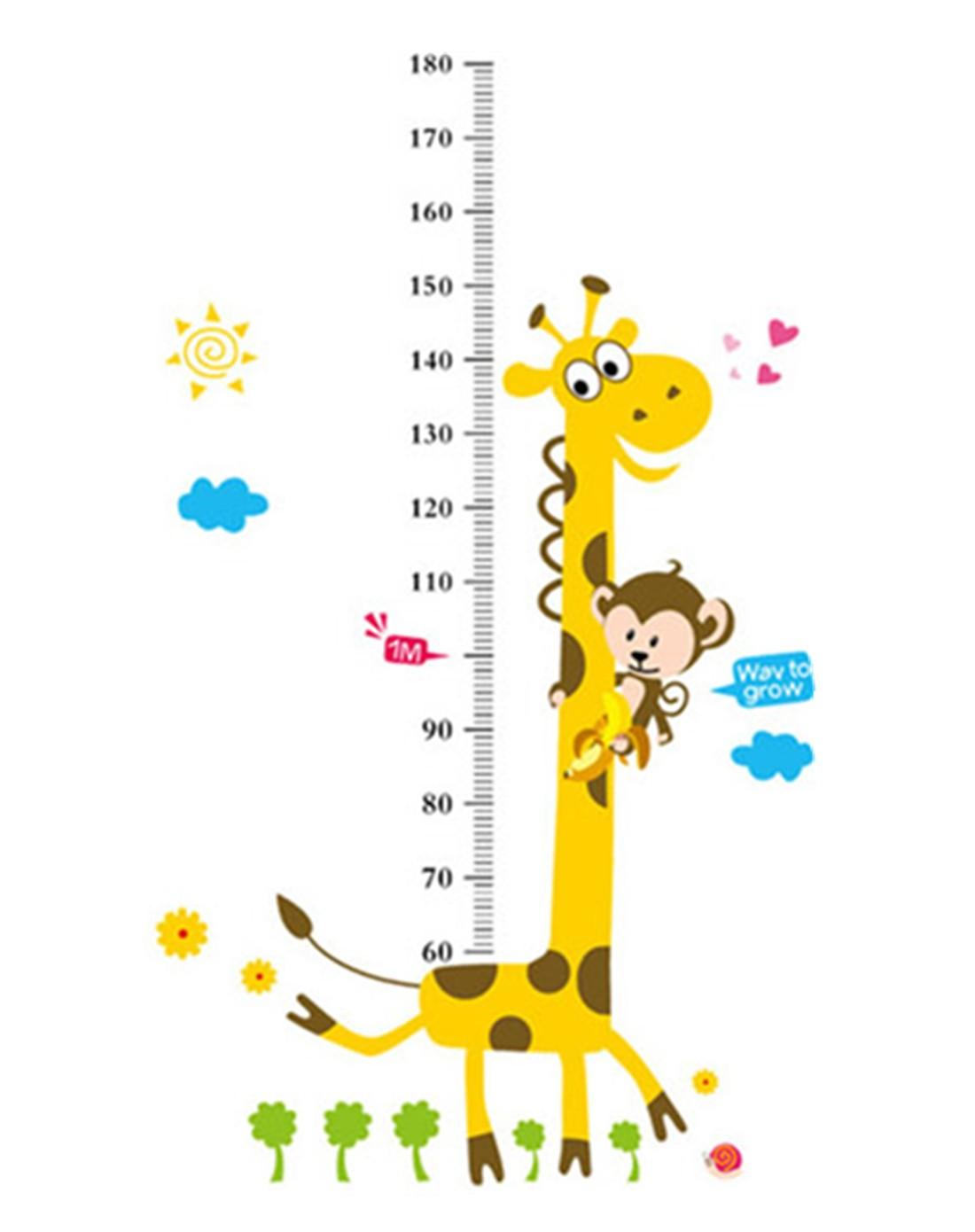diy组合墙贴 长颈鹿身高贴和蝴蝶飞飞