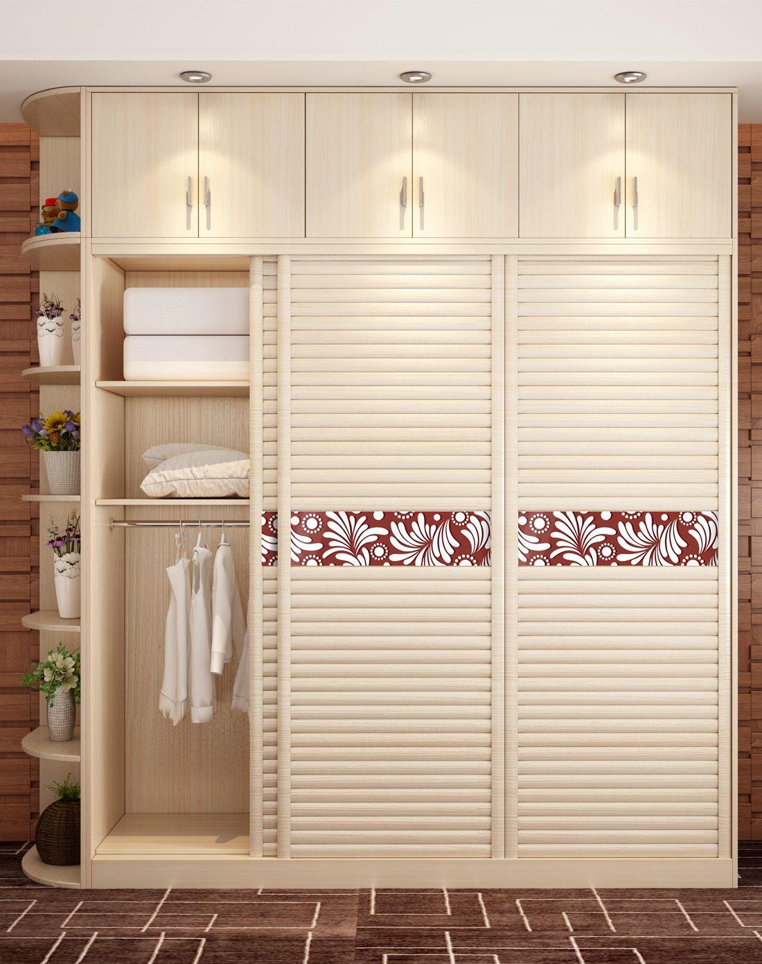 夏威夷尼斯百叶推拉三门衣柜(含顶柜侧架)总长2.5米白樱桃色
