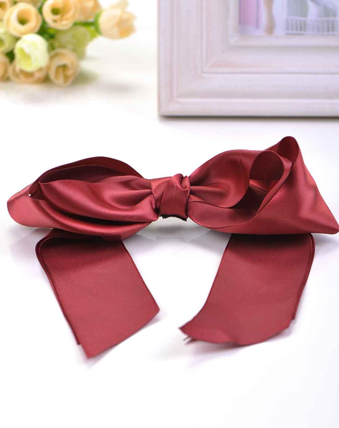 酒红缎带双层蝴蝶结发圈
