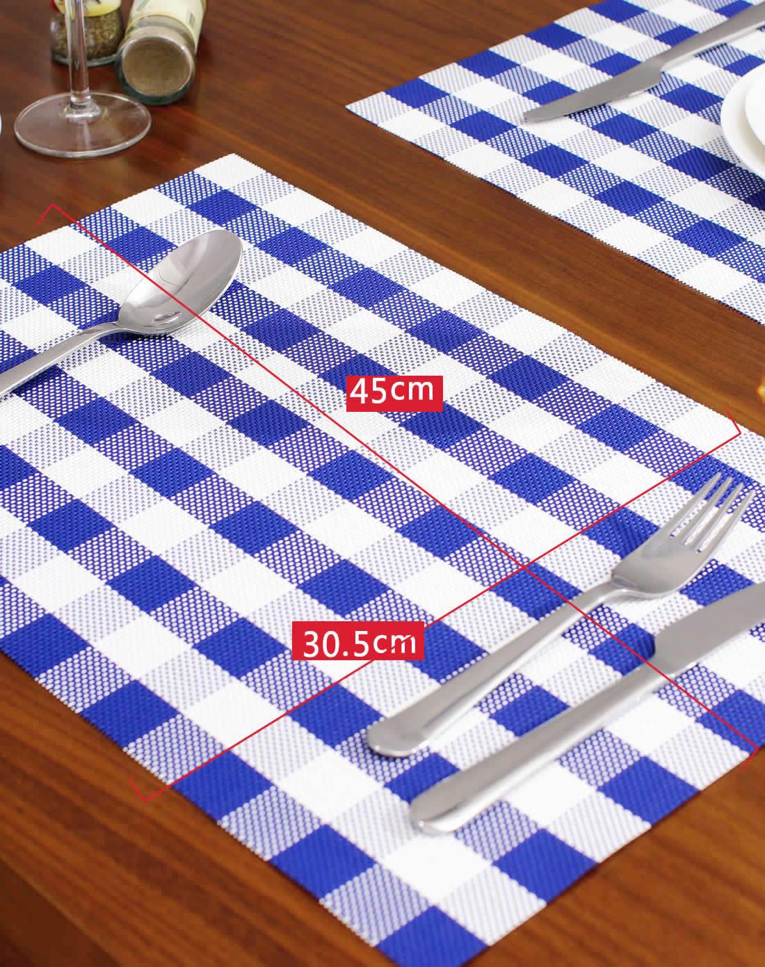 6块装 蓝色小方格餐垫