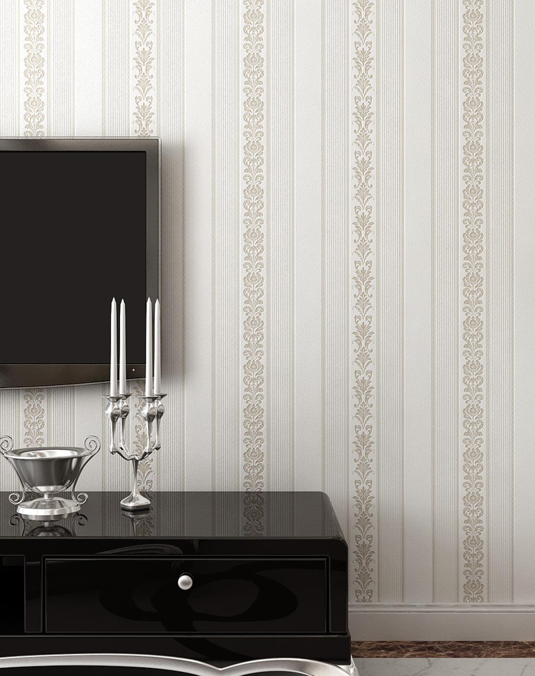 银白色3d欧式竖条纹无纺布墙纸