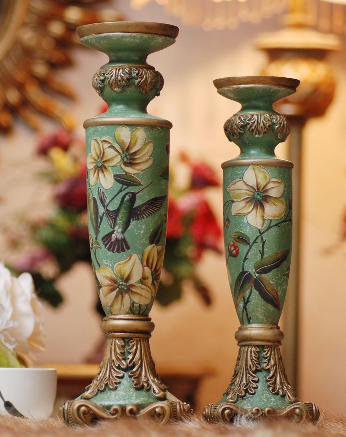 美式乡村翠鸟图装饰烛台摆件图片