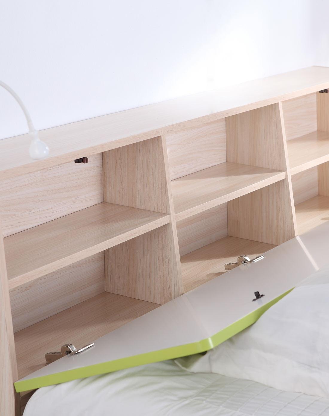 8米储物抽屉床+翻板床头n