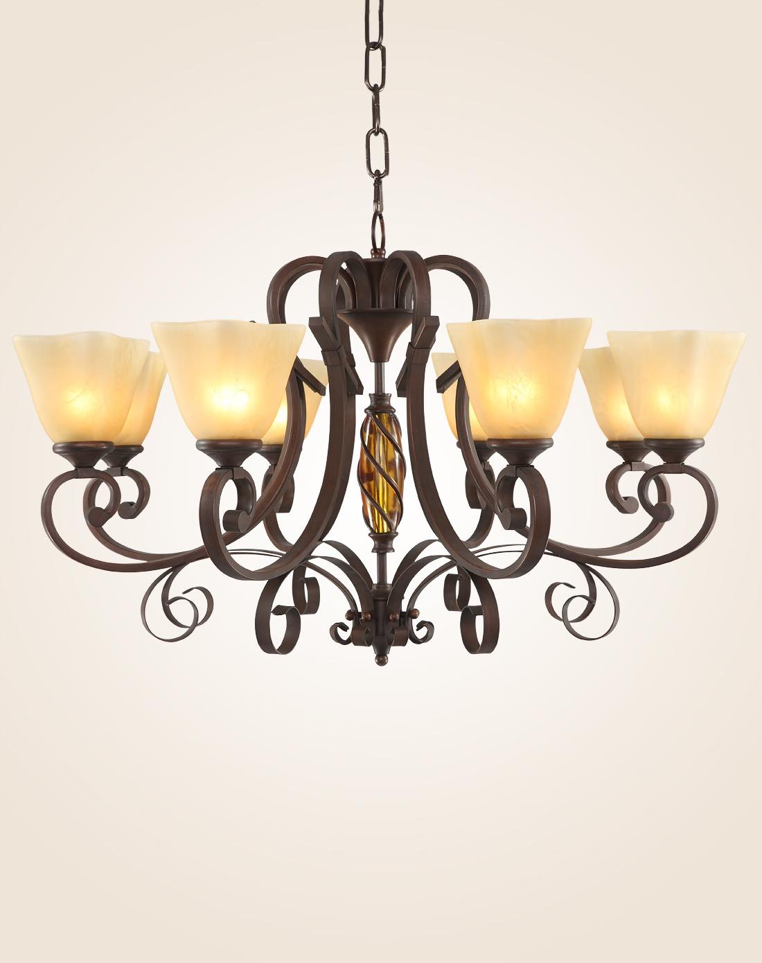 美式乡村吊灯复古铁艺客厅灯具图片