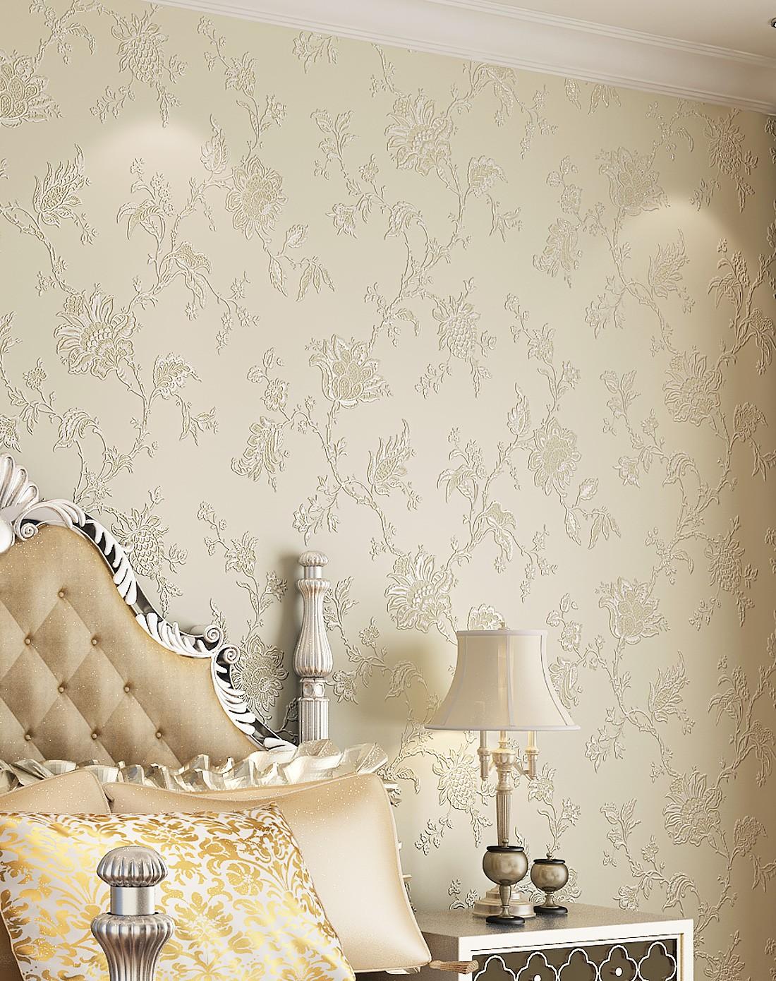 纸尚美学墙纸专场象牙白3d浮雕欧式简约风格立体壁纸