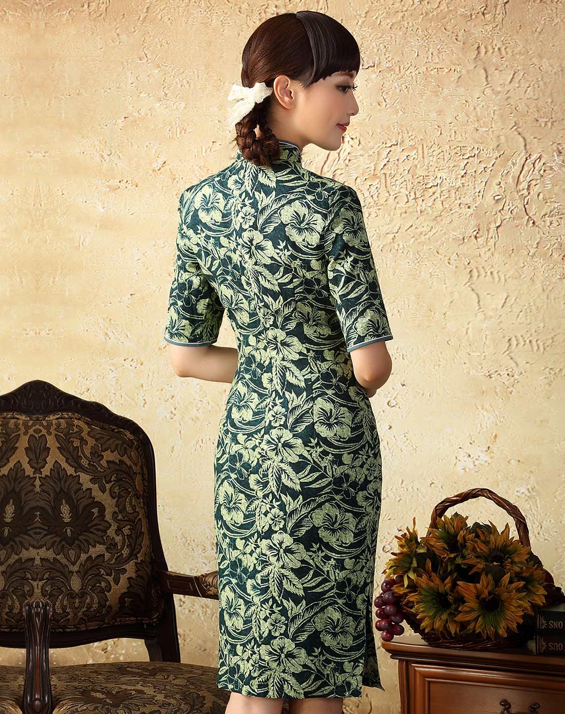 雅惠 中长款棉麻旗袍连衣裙