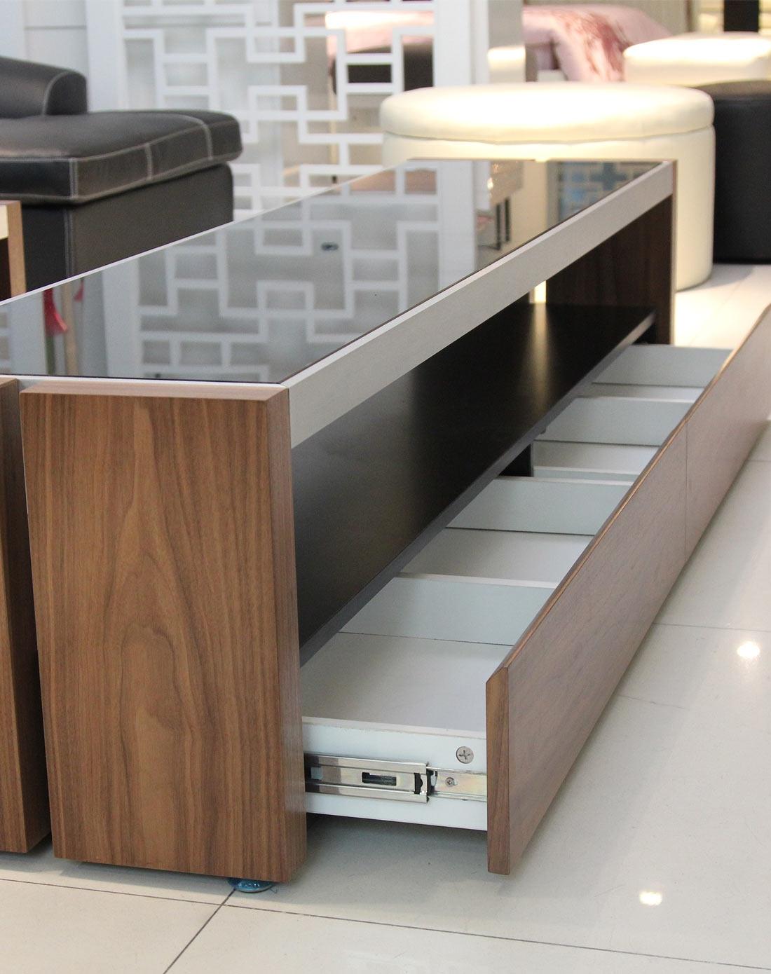 康耐登kinetic专场木色现代钢化玻璃胡桃实木电视柜
