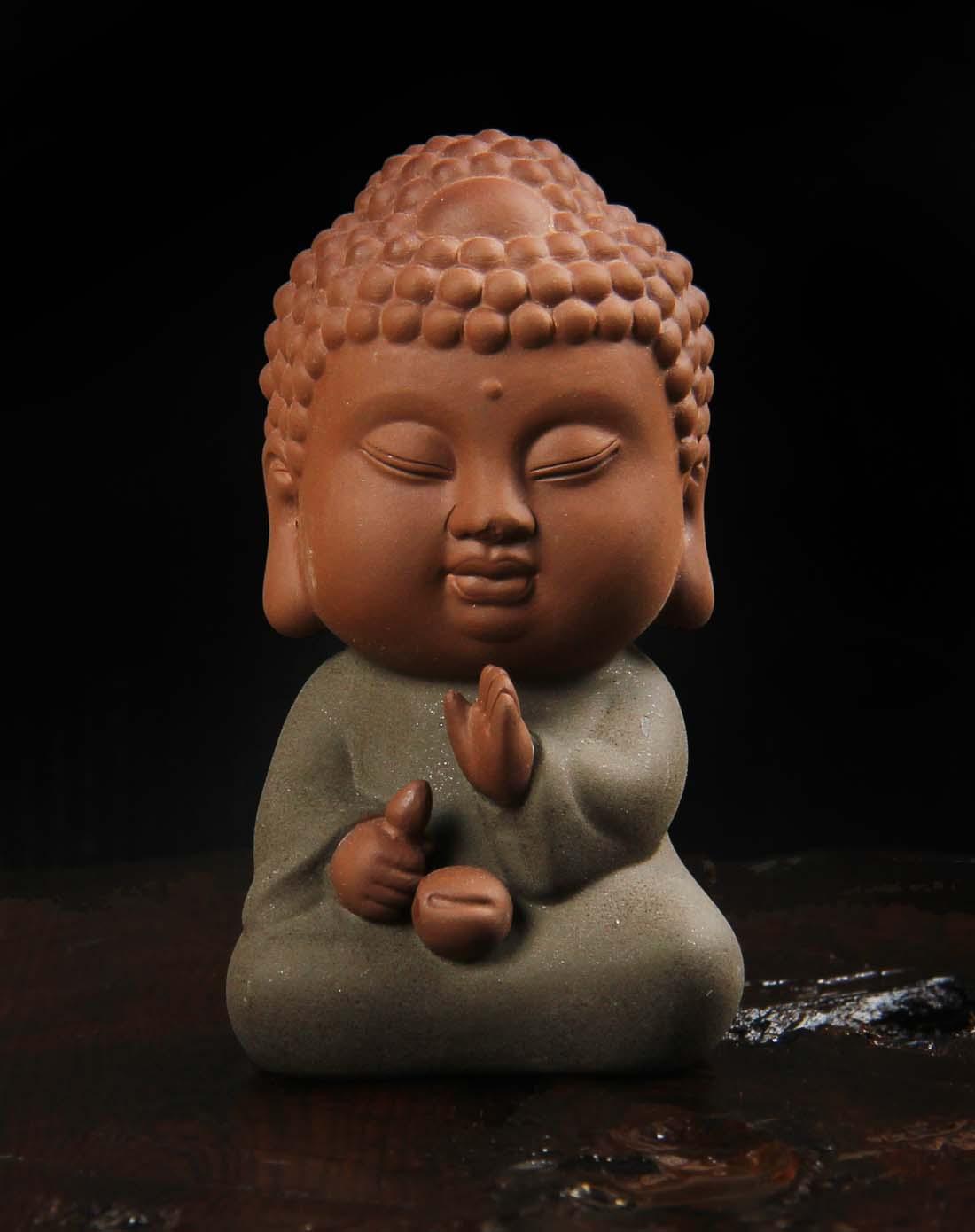 佛道六度(随缘)沙弥茶宠纯手工雕刻摆件