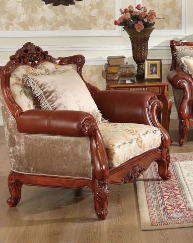 > 美式实木雕花布艺沙发 单人位图片