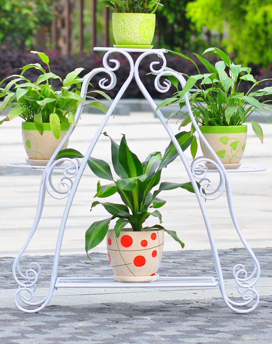 新滢铁艺白色色四层欧式铁艺多层创意心形古典花架xy